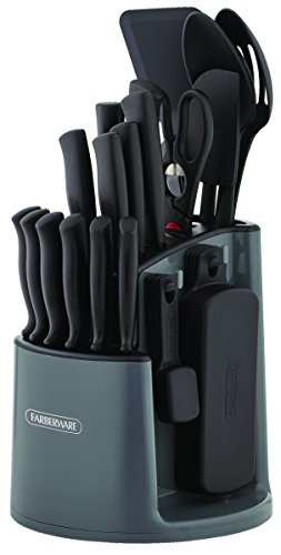Farberware 5169370 30-Piece Spin-and-Store Knife and Kitchen Tool Set with Rotating Storage Caddy, Black (Kitchen Utensils Knives)