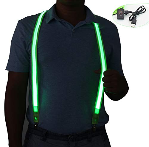 Light Up LED Suspenders Safety Vest USB Rechargeable,Extra Bright for Party Concert Night Club,Novelty Glowing Suspender Braces (Green) ()