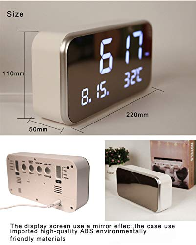 Amazon.com: Warm and Beautiful Mirror Clock Big Screen LED Digital Multi-Function Music Alarm Clock for Week Desktop Digital Bedside Digital Clock with ...