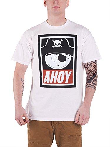 South Park Cartman Pirate Ahoy Official Mens New White T Shirt