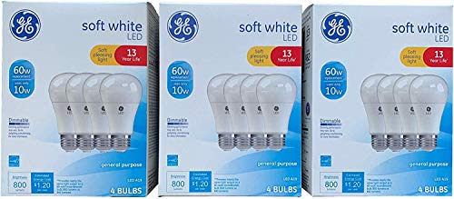 GE Lighting 67615 Dimmable LED A19 Light Bulb with Medium Base, 10-Watt, Soft White, 12-Pack (3 x 4-Pack)