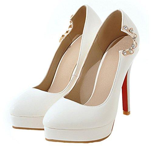 ENMAYER Womens Lackleder Slip on Stilett-Absatz-runde Zehe-Plattform-Pumpen Schuhe Nachtclub Weiß #30