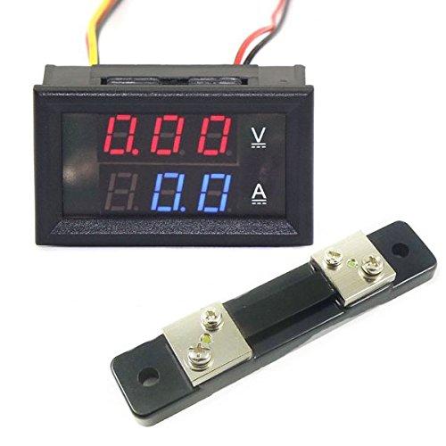 Aihasd 100V Digital Voltmeter Amperemeter 50A LED Digital Spannung Strom Panel Rot Blau Shunt AX Electronic
