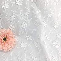 【エレガントな花柄刺繍】生地 布 手芸 綿100% 刺繍 白い綿布生地 DIY 手作り 刺繍生地 柔らかい ハンドメイド おしゃれ 衣装材料 縫製用 130*100cm 白