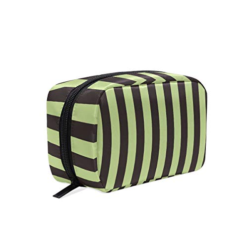 MALPLENA Black And Green Stripe make up pouch for women Make Up Pouch