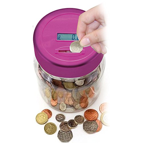 Top Home Solutions® Electronic LCD Coin Money Counting Jar Box Saving Safe Digital Piggy Bank (Pink)