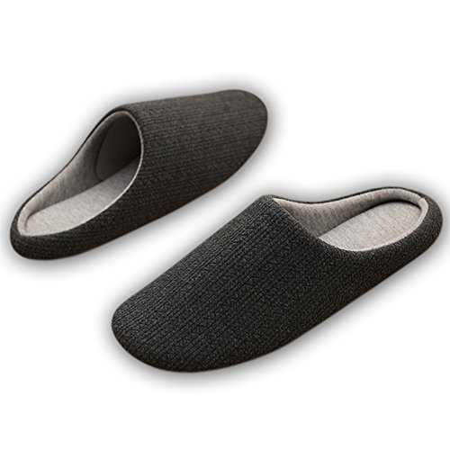 HaloVa Slippers, Closed Toe Skidproof Soft soled Shoes Indoor House Unisex Slippers For Women Men Black