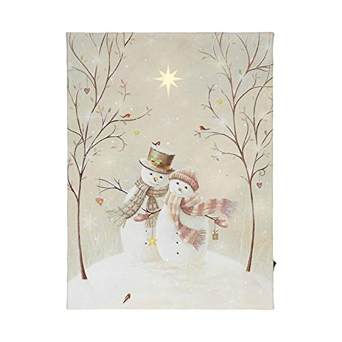 """RAZ Imports Snowman Couple Lighted Canvas Print 8.5""""L X 12""""H with Timer"""