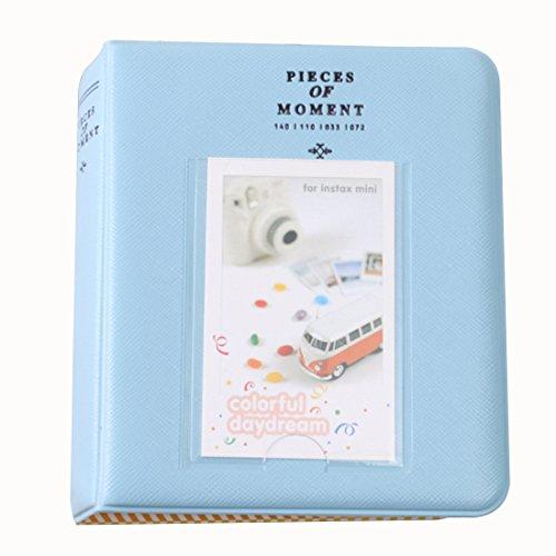 64 Pockets Polaroid Photo Album Mini Instant Picture Storage Case - Sky Blue (Difference Between Fujifilm Mini 7s And 8)