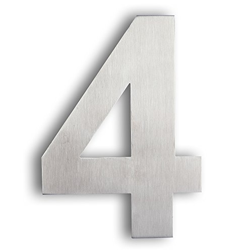 Mellewell Floating House Numbers 6 inch, Stainless Steel 18-8 Brushed Nickel, Number 4 Four, HN06-4 by Mellewell