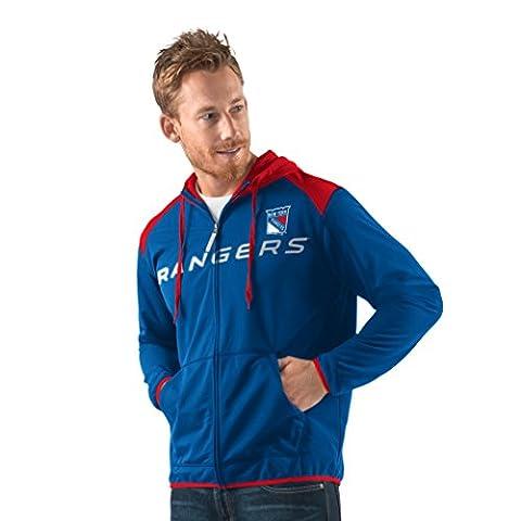 NHL New York Rangers Men's Superset Full Zip Fleece Hoody, XX-Large, Royal/Red - Full Zip Hockey Hoody