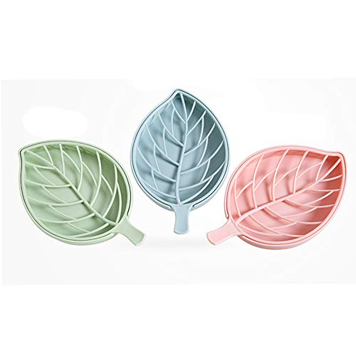 X Hot Popcorn 3 Pcs Leaf Shape Soap Box Plastic Dish Soap Storage Plate Tray Holder Case Container for Bathroom Bathroom, Kitchen Counter or Sink