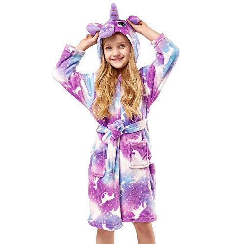 Soft Unicorn Girl Bathrobe Hoodie, Unisex Hooded Gift for Girl and Boys (Purple Unicorn, 10-11 Year) ()