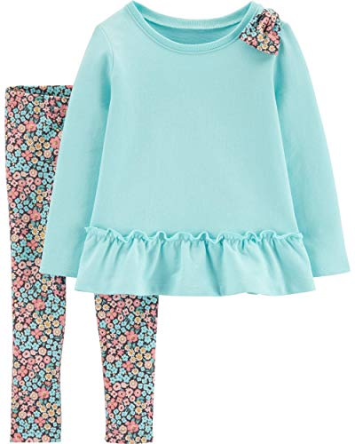 Carter's Girls' 2-Piece Long Sleeve Top and Legging Sets (4T, Turquoise/Floral)