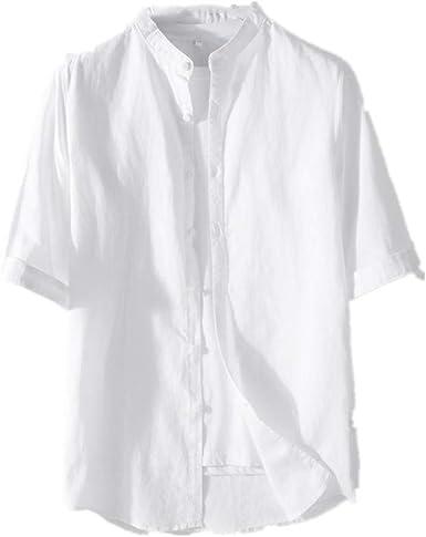 NOBRAND Camisa casual para hombre, manga blanca, cuello alto fino: Amazon.es: Ropa y accesorios
