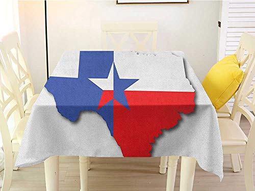 L'sWOW Square Tablecloth Birthday Party Texas Star Outline of The Texas Map American Southwest Austin Houston City Vermilion White Violet Blue Clamps 54 x 54 Inch]()