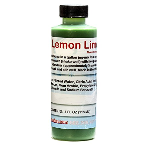 Lemon Lime Shaved Ice and Snow Cone Flavor Concentrate 4 Fl Ounce Size