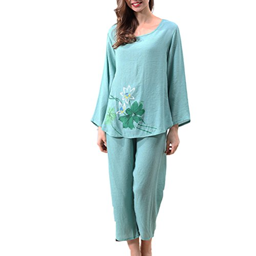 Zhhlinyuan Comfortable Long sleeves Pajamas Set Charming Women's Loose Sleepwear Green