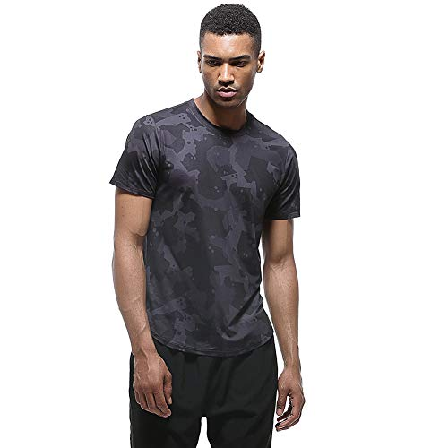Zhtrade Running Shirts Men Workout Athletic Short-Sleeve Dry Fit T-Shirt Training Fitness Shirts