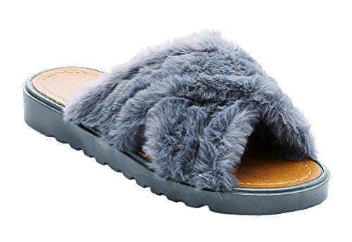 Ecladea Mujeres Fashion Comfy Criss-cross Sandalias De Piel Sintética Suave Deslizamiento [slip-on Sandals] Zapatillas Planas Flip Flops Zapatos Gris