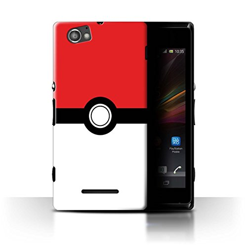STUFF4 Phone Case / Cover for Sony Xperia M/C1905 / Red Design / Pokeball Anime Inspired Collection
