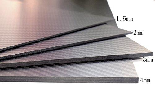 cncarbonfiber 3mmx300x400mm 100% Carbon Fiber Sheet Laminate Plate Panel 3K Twill Matte Finish by cncarbonfiber