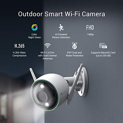 EZVIZ Outdoor Security Camera Color Night Vision, 1080P AI-Powered Person Detection, H.265, IP67 Waterproof, Customizable Detection Zones, 2.4GHz WiFi Supports MicroSD Card up to 256GB(C3N)