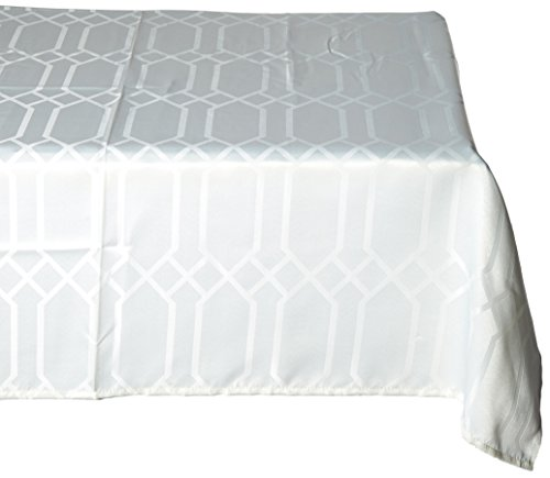 Benson Mills Chagall Spillproof Fabric Tablecloth, 52 by 70-Inch, Off White