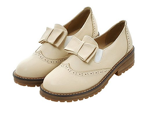 Women's Round Toe WeiPoot Solid Closed PU Low Pull Heels Shoes Beige Pumps On 6gqxcq0dwp