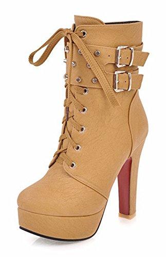 Chunky High Short Platform Zip Round Womens Lace Up Brown Aisun Boots Buckled Studded Heel Toe Stylish aRvwSq