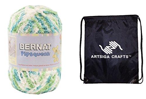 Bernat Pipsqueak Big Ball Yarn (1-Pack) Aquamarine Swirl 162058-58203 with 1 Artsiga Crafts Project Bag (Yarn Chunky Swirl)