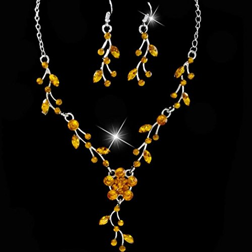 Cognac Quartz Earrings (Charm Prom Wedding Bridal Jewelry Crystal Rhinestone Bohemia Long Pendant Necklace Earring Set (Yellow))