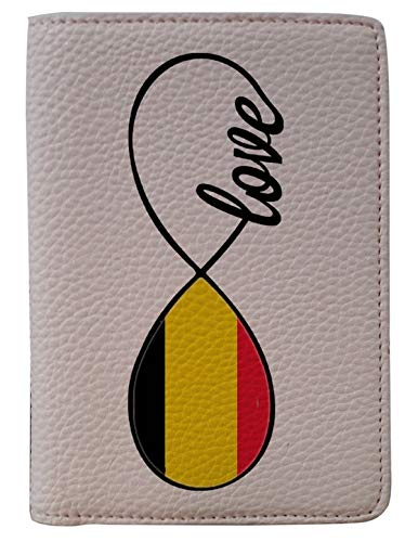 [OxyCase] Designer Light Weight PU Leather Passport Holder Cover/Case - Infinity Love Belgium Flag Design Printed Cute Travel Wallet for Girls/Women by OxyCase