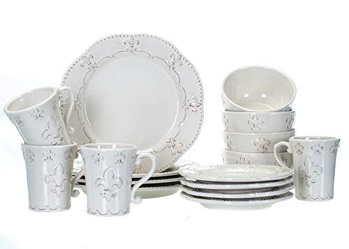 Drew Derose Fleur de Lis 16pc Dinnerware Set 4ea Dinner Salad Plates Bowls & Mugs