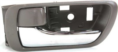 OE Replacement Front or Rear Driver Side Brown Bezel with Chrome Lever Interior Door Handle with Door Lock Button for Toyota - T462164