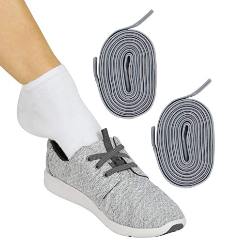 Vive No Tie Shoe Laces (Gray Pair) - Elastic Lace Ups - Flat Replacement Shoelaces for Men, Women, Sports, Running, Adults, Kids, Tennis, Disabled, Elderly, Dress Assist - One Size Long, Stretch Bands