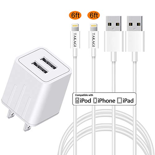 Phone Charger, TAKAGI Fast Charging Cable 2Pack 6ft High Speed Data Sync Transfer Cord Phone Connector with Wall Plug Charger(ETL Listed) Compatible with Phone XS MAX/XR/XS/X/8/7/Plus/6S/6/SE/Tablet