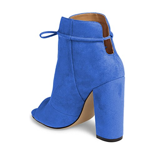 Peep Ankle Lace Chunky FSJ High Fashion Toe 15 Blue US Women Comfy up 4 Size Bowknot Booties Heels Shoes wEwzqIx
