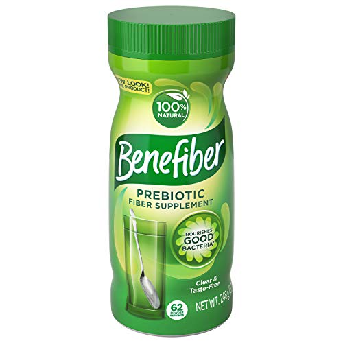 Benefiber Daily Prebiotic Dietary Fiber Supplement Powder for Digestive Health, 100% Natural, Clear and Taste-Free, 62 servings / 8.7 ounces