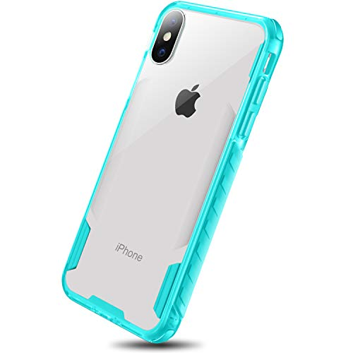 iPhone X Case, iPhone 10 Case, Heavy Duty TPU Shatterproof Bumper Edges Crystal Clear Hard PC Back Cover for Girls Women for by DAUPIN iPhone X Green …