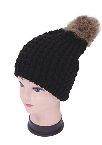 Women's Premium Knitted Slouchy Beanie Hat with Faux Fur PomPom - Black (Braided Knit) (Burgundy Felt Bonnet)