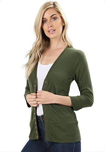 12 Ami 3/4 Sleeve Snap Button Soft Knit Sweater Cardigan (S-3X)