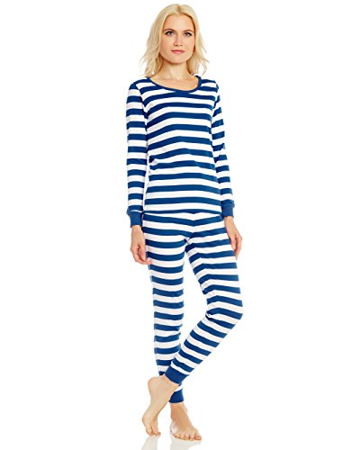 - Leveret Womens Fitted Striped 2 Piece Pajama Set 100% Cotton (Medium Blue & White)