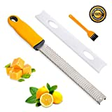 Professional Lemon Zester, Stainless Steel Cheese Grater for Chocolate, Ginger, Garlic, Nutmeg, Potato, Vegetables, Fruits - Protect Cover & Brush Included – Dishwasher Safe (Yellow)