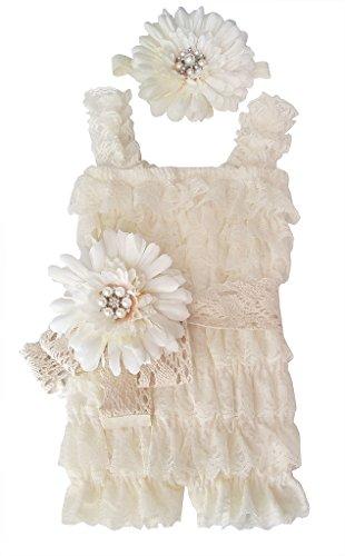 Rosy Kids Baby Girl Toddler Girl Ruffle Lace Romper Set, (Cream Dress Pants)