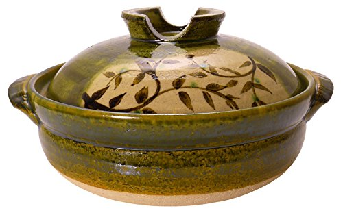 Spiceberry Home Green Stoneware Covered Donabe Casserole, Size 7