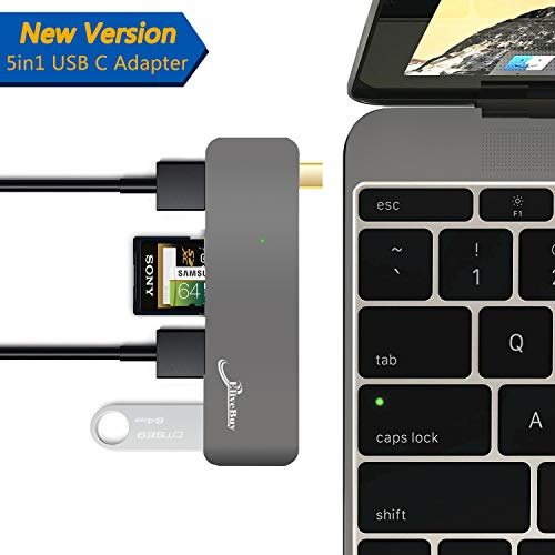 USB C 3.1 Hub, Adapter for 2015/2016/2017/2018 MacBook/MacBook Pro 12/13/15 inch and more ,5 in 1 Multiport USB Dongle 3.0 Type A Port Micro SD Memory Card Reader (Space Grey)