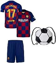 Rhinox EKSport Griezmann Barcelona #17 France #7 Soccer Jersey Youth Home Short Sleeve with Shorts Kit Kids So