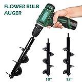 Hotbestus Flower Bulb HEX Shaft Drill Planter, Garden Auger Spiral Drill Bit Non-Slip - Bulb Planting Auger for Planting Bedding Bulbs Seedlings (8 x 25cm)