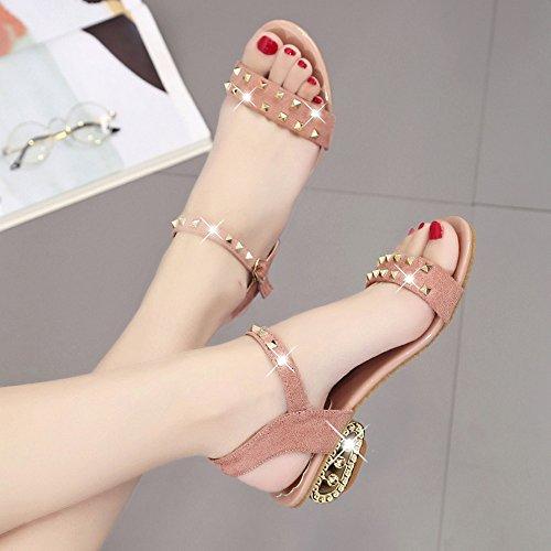 Beautyjourney Rivet Serpent DC DéCoration Tongs Sandales Femme Med Shoes Semi Jolie Sandales Sandales Rose Shoes Ouvertes DéContractéEs Heeled 7rWq75g